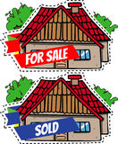Cartoon House for sale and sold Royalty Free Stock Photography