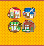 Cartoon house/shop card Stock Photos