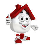 Cartoon house with thumb up Stock Photo