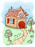 Cartoon house and trees. Cartoon little  house, road,  and trees Royalty Free Stock Photography