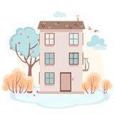 Cartoon house with trees in soft colors Royalty Free Stock Images