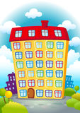 Cartoon house. Cartoon yellow house with red roof on a background of clouds Royalty Free Stock Photography