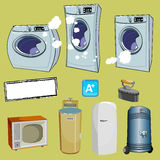 Cartoon household items different washing machine Royalty Free Stock Photography