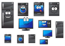 Cartoon household and kitchen appliances Royalty Free Stock Photos