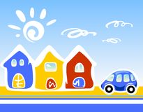 Cartoon houses. Three cartoon houses and the car on a  blue background Stock Photo