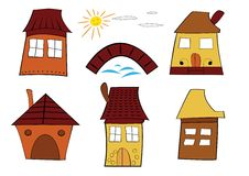 Cartoon houses Stock Photo