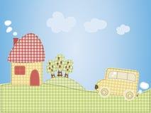 Cartoon houses and the car Royalty Free Stock Photos