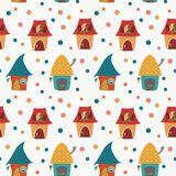 Cartoon houses childlike pattern on white background Royalty Free Stock Photography