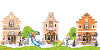 Cartoon houses with children and a playground. Royalty Free Stock Image