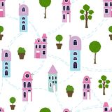 Cartoon houses, homes royalty free illustration