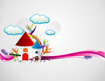 Cartoon houses illustration Royalty Free Stock Photos