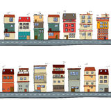 Cartoon houses illustration Royalty Free Stock Image
