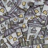 Cartoon houses seamless pattern. Cartoon vector fairy tale drawing town. seamless pattern Stock Photo