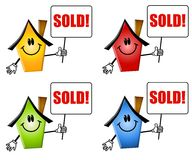 Cartoon Houses Sold Signs. An illustration featuring an assortment of houses with smiling faces and different colors pointing and holding sold signs royalty free illustration