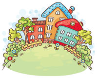 Cartoon houses and trees on a hill with a copy space. Vector vector illustration