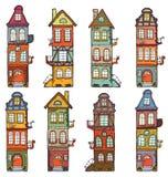 8 cartoon houses Royalty Free Stock Photo