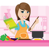 Cartoon housewife cooking in kitchen Stock Photos