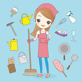 Cartoon housewife do housework cleaning. And smile to you royalty free illustration
