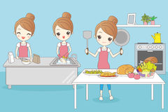 Cartoon housewife do work Stock Photography