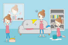 Cartoon housewife do work Royalty Free Stock Image