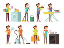 Cartoon housewife in housework activity vector set. Happy woman performing household Stock Photo