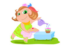 Cartoon housewife - vector illustration stock photo