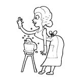 Cartoon housewife washing up Royalty Free Stock Photography