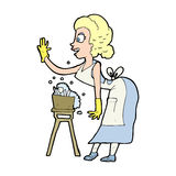 Cartoon housewife washing up Royalty Free Stock Photo