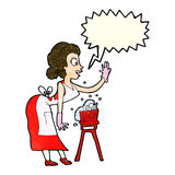 Cartoon housewife washing up with speech bubble Stock Images