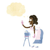 cartoon housewife washing up with thought bubble Stock Photo