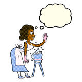 cartoon housewife washing up with thought bubble Royalty Free Stock Photo