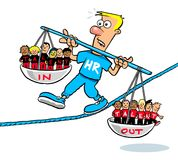 Cartoon HR man balancing talent. In and out on a tightrope; recruitment concept Royalty Free Stock Image