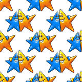 Cartoon hugging stars characters seamless pattern Stock Photography