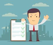 Cartoon human character holding a clipboard with green tick. Royalty Free Stock Images