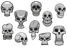 Cartoon human scary Halloween skulls Stock Image