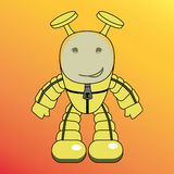 Cartoon humanoid, alien or robot. Yellow cartoon humanoid with antennas vector illustration