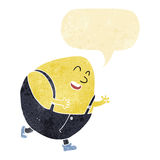 Cartoon humpty dumpty egg character with speech bubble Stock Image