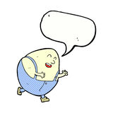 Cartoon humpty dumpty egg character with speech bubble Stock Images