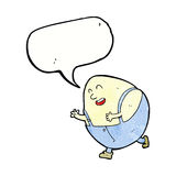 Cartoon humpty dumpty egg character with speech bubble Royalty Free Stock Images