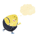 Cartoon humpty dumpty egg character with thought bubble Stock Image