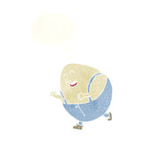 Cartoon humpty dumpty egg character with thought bubble Stock Photos