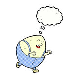 Cartoon humpty dumpty egg character with thought bubble Royalty Free Stock Photography