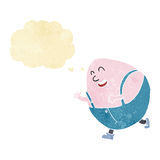 cartoon humpty dumpty egg character with thought bubble Stock Photography