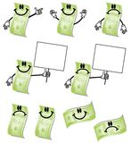 Cartoon Hundred Dollar Bills. An illustration featuring your choice of 9 different hundred dollar bill cartoon characters in various poses and moods - pointing Royalty Free Stock Photos