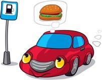 Cartoon Hungry Car. Cartoon Car Dreaming of Burger next to Fuel Station sign vector illustration