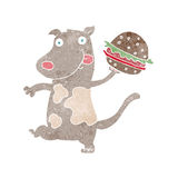 Cartoon hungry dog with burger Royalty Free Stock Photo
