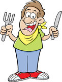 Cartoon hungry man. Cartoon illustration of a hungry man holding a knife and fork Stock Image