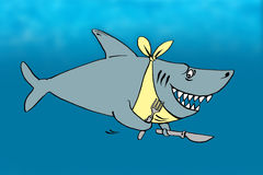 Cartoon of a hungry shark Royalty Free Stock Images