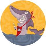 Cartoon hungry shark Stock Photography