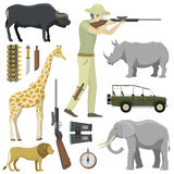 Cartoon hunter aiming rifle africa shotgun with compass, rifle, binoculars and jeep car and explorer pursuit hunting Stock Images